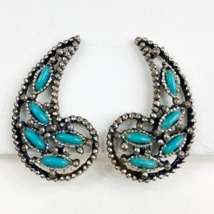 Vintage NYT Faux Turquoise Clip On Earrings